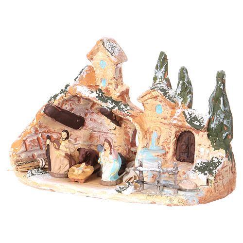 Cabane avec village terre cuite Deruta nativité 3 cm 10x15x10 cm 3
