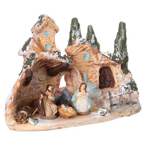 Capanna con borghetto terracotta Deruta natività 3 cm 10x15x10 cm 2