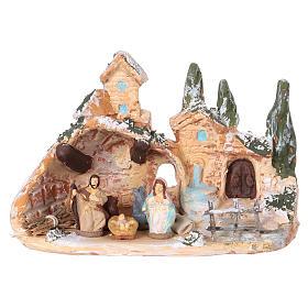 Presépio Terracota Deruta: Cabana com aldeia terracota Deruta natividade 10x15x10 cm para presépio com peças de 3 cm de altura média