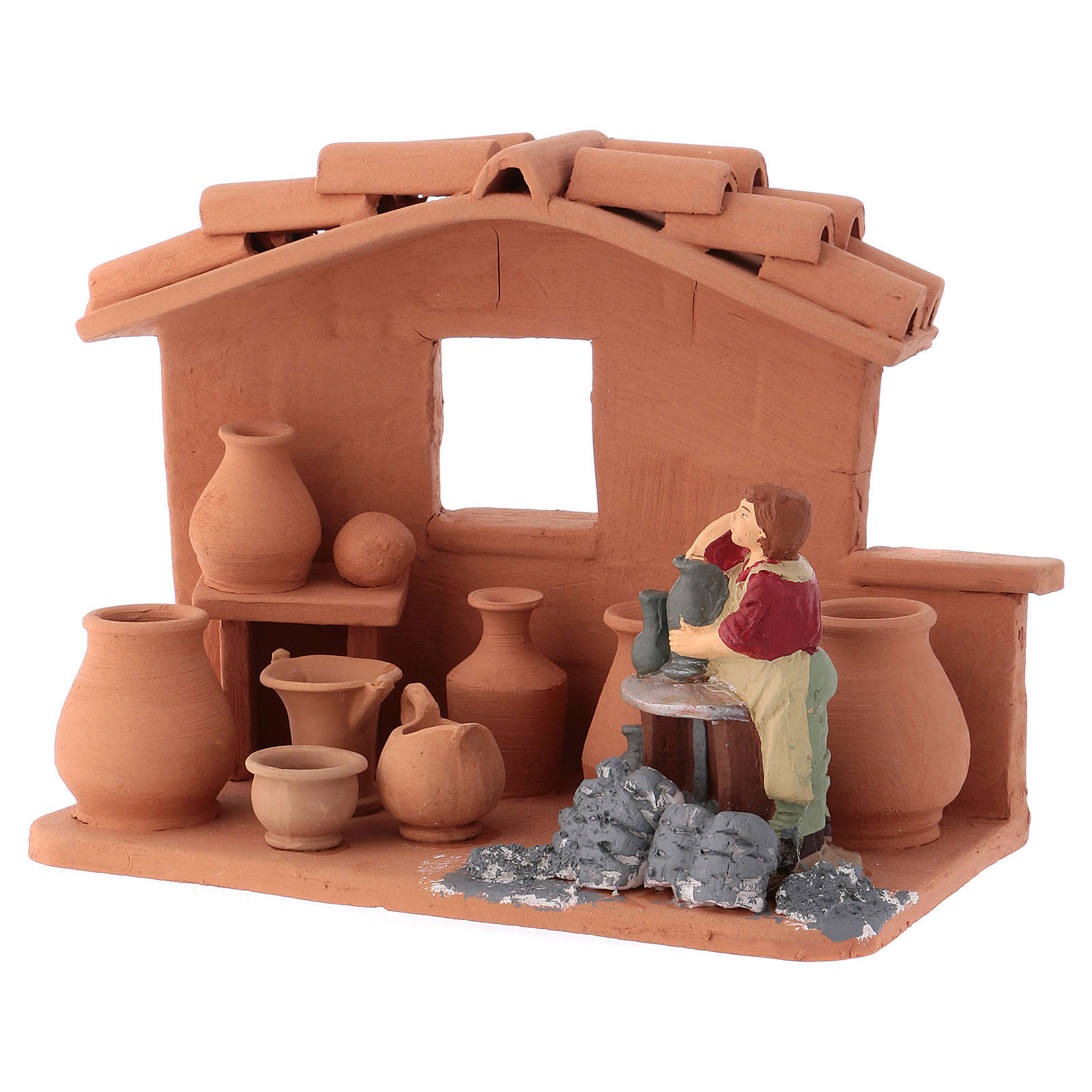 Man with lathe in Deruta terracotta handmade for Nativity scenes of 10 cm 4