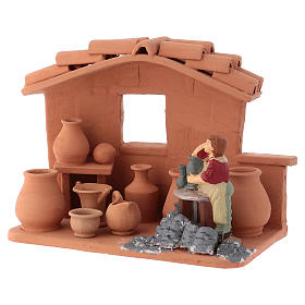 Man with lathe in Deruta terracotta handmade for Nativity scenes of 10 cm s3