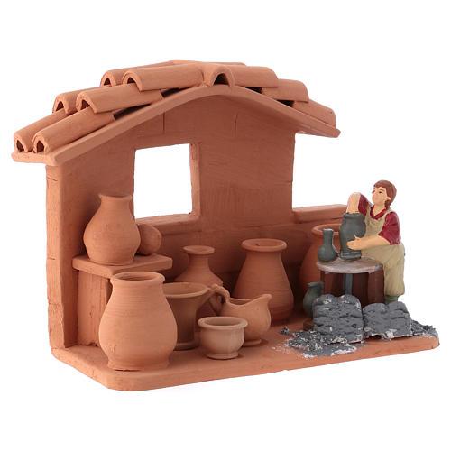 Man with lathe in Deruta terracotta handmade for Nativity scenes of 10 cm 2