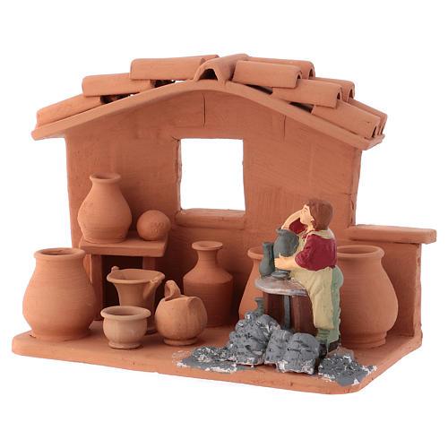 Man with lathe in Deruta terracotta handmade for Nativity scenes of 10 cm 3