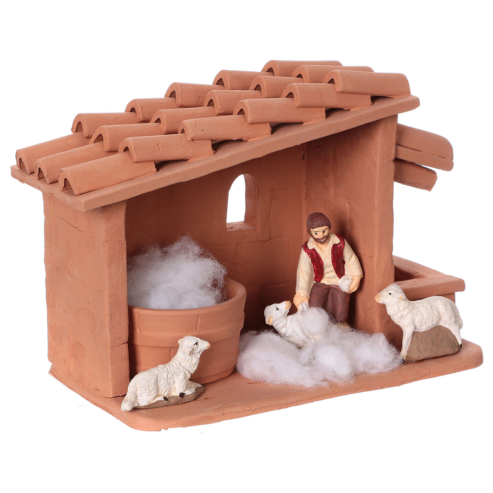 Shearer with sheep and handmade wool in painted Deruta terracotta for Nativity scene 10 cm 4