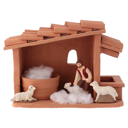 Shearer with sheep and handmade wool in painted Deruta terracotta for Nativity scene 10 cm 1