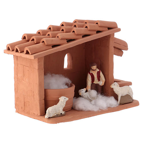 Shearer with sheep and handmade wool in painted Deruta terracotta for Nativity scene 10 cm 2