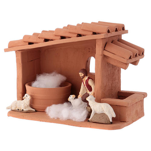 Shearer with sheep and handmade wool in painted Deruta terracotta for Nativity scene 10 cm 3