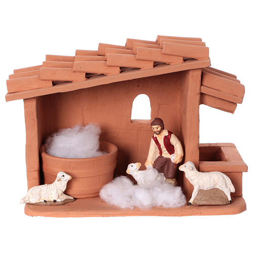 Shearer with sheep and handmade wool in painted Deruta terracotta for Nativity scene 10 cm 5