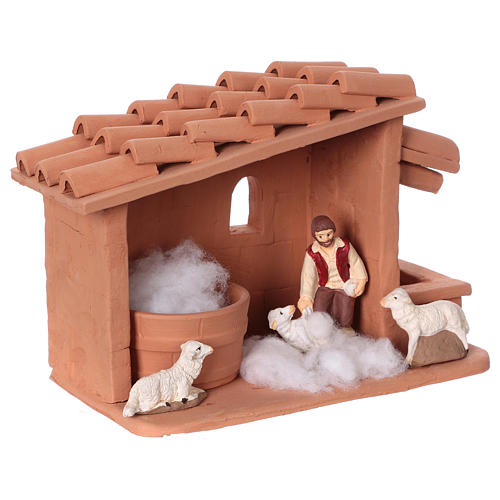 Shearer with sheep and handmade wool in painted Deruta terracotta for Nativity scene 10 cm 6