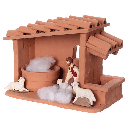 Shearer with sheep and handmade wool in painted Deruta terracotta for Nativity scene 10 cm 7
