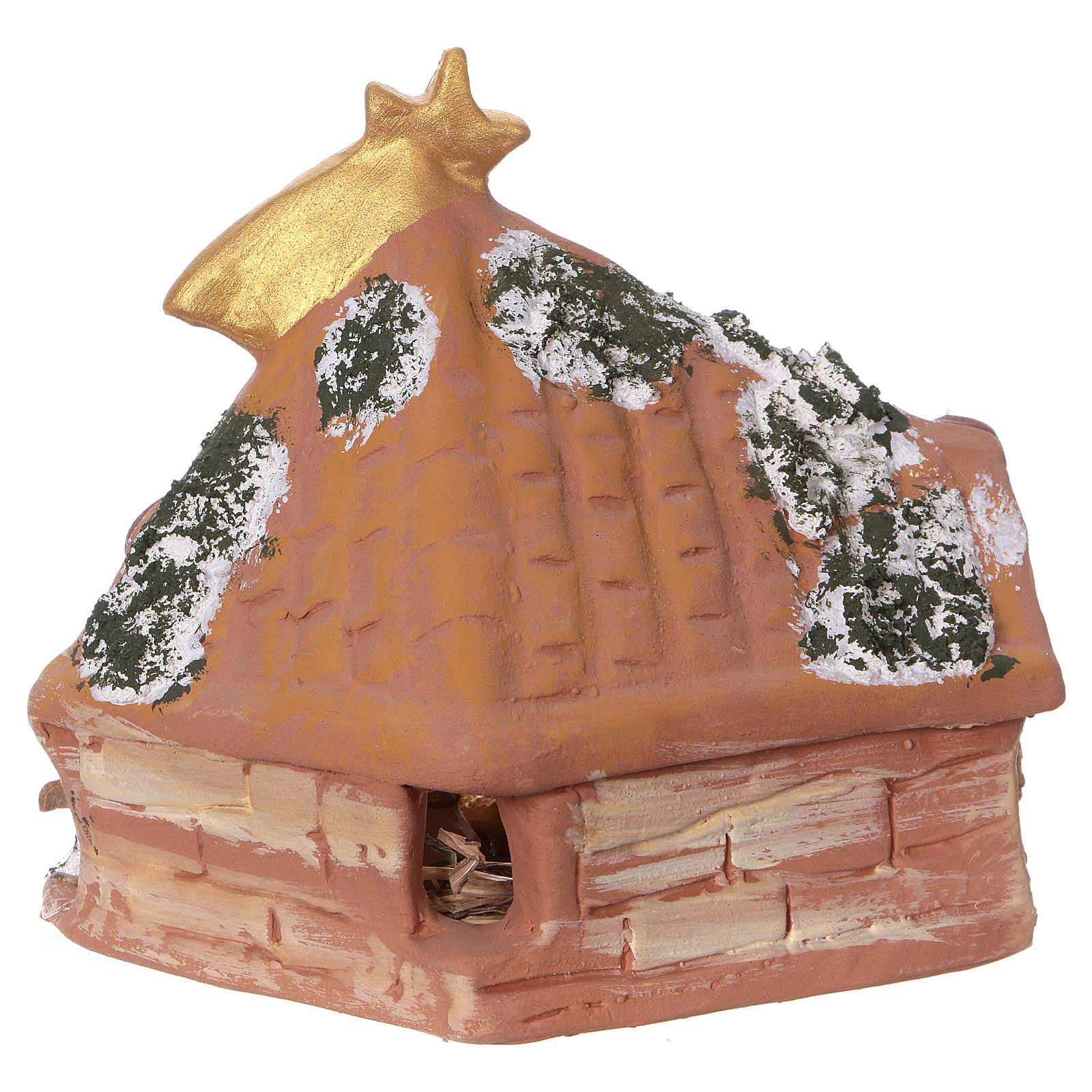 Coloured terracotta hut with 6 cm Nativity scene and comet made in Deruta 4