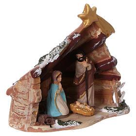 Coloured terracotta hut with 6 cm Nativity scene and comet made in Deruta s2