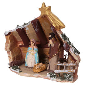 Coloured terracotta hut with 6 cm Nativity scene and comet made in Deruta s3