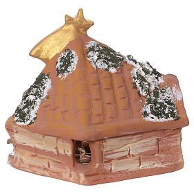 Coloured terracotta hut with 6 cm Nativity scene and comet made in Deruta s4