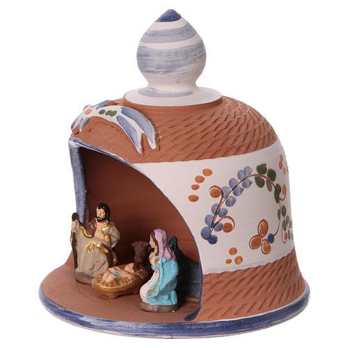 Coloured terracotta hut with 6 cm Nativity scene and comet made in Deruta  3