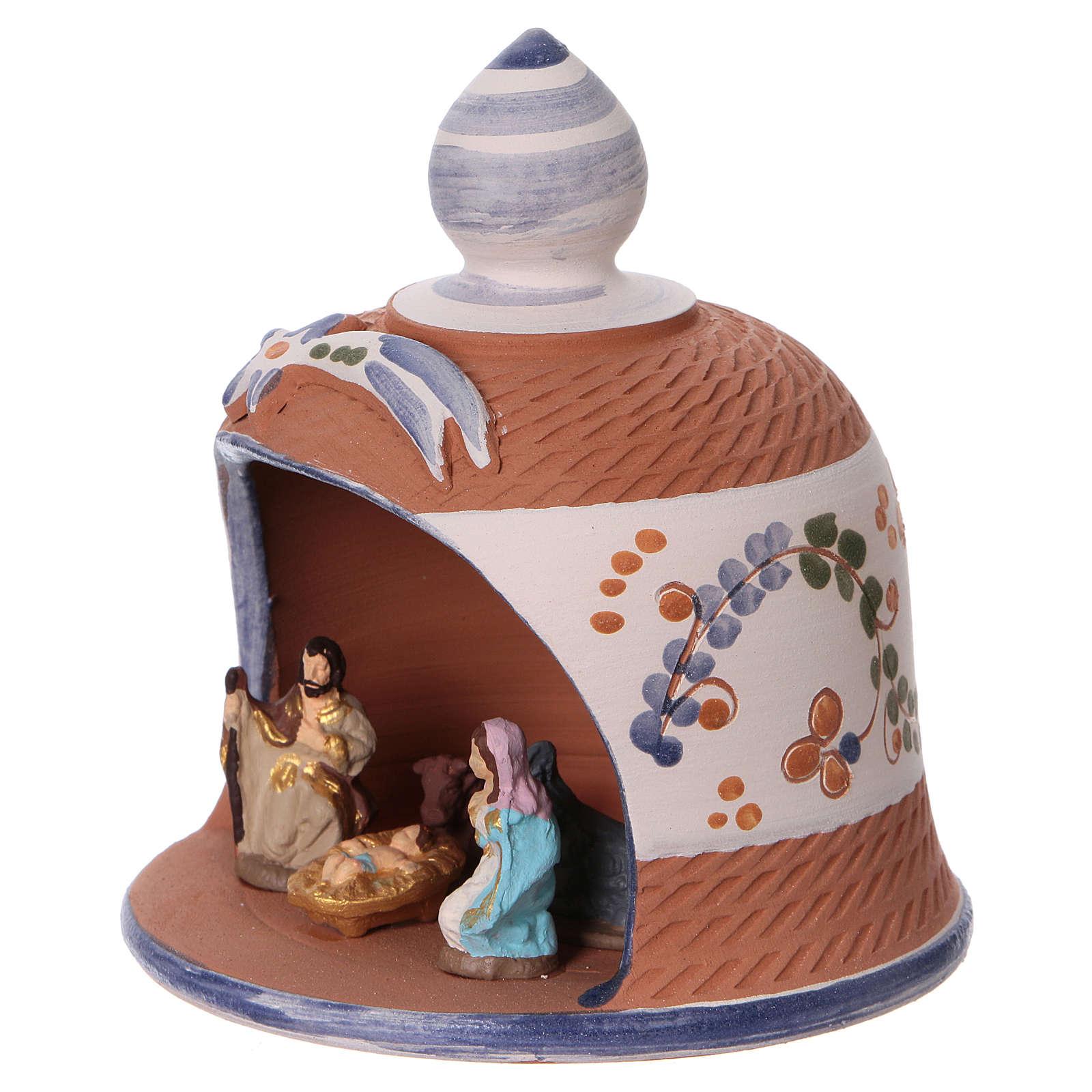 Capanna in terracotta colorata con presepe 6 cm Deruta 4