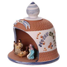 Capanna in terracotta colorata con presepe 6 cm Deruta s3