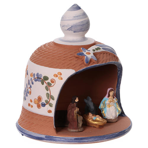 Capanna in terracotta colorata con presepe 6 cm Deruta 2