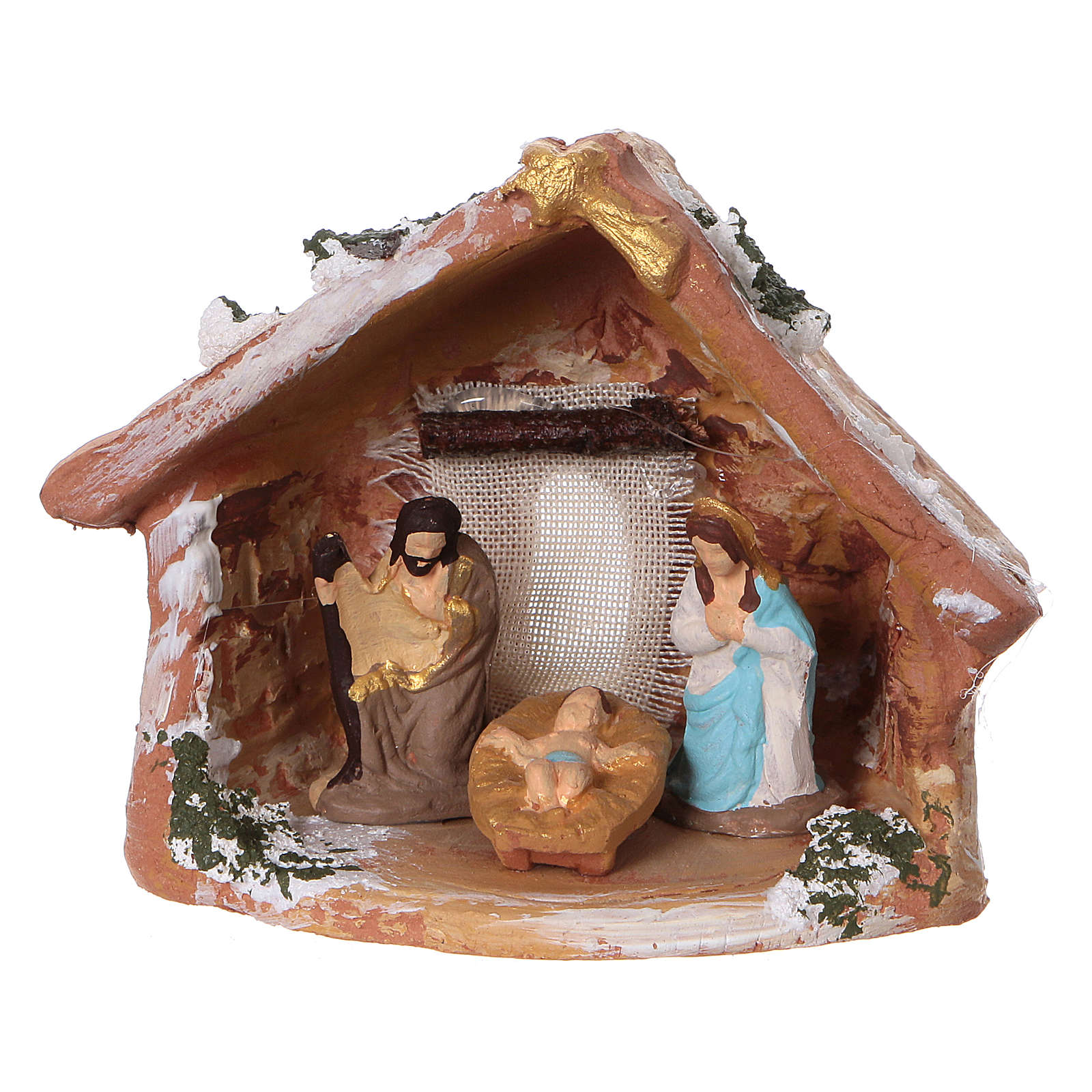 Coloured terracotta hut with 4 cm Nativity scene and comet made in Deruta 4