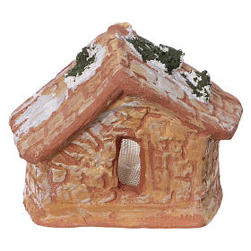 Coloured terracotta hut with 4 cm Nativity scene and comet made in Deruta s4