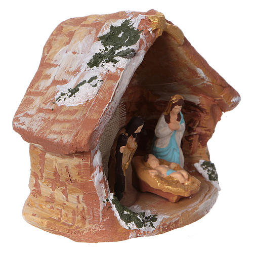 Coloured terracotta hut with 4 cm Nativity scene and comet made in Deruta 2