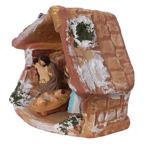 Coloured terracotta hut with 4 cm Nativity scene and comet made in Deruta 3