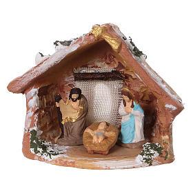 Cabane avec Nativité en terre cuite colorée pour crèche 4 cm Deruta s1