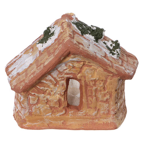 Capanna con Natività in terracotta colorata con presepe 4 cm Deruta 4