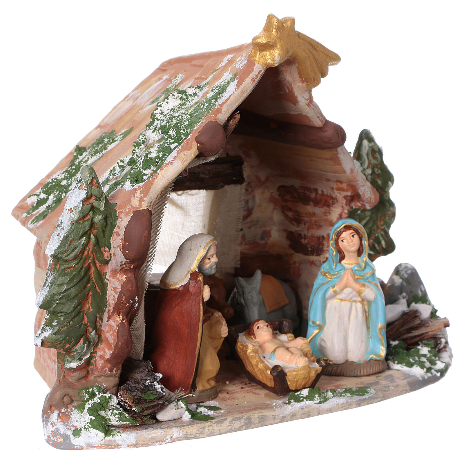 Coloured terracotta hut with 8 cm Nativity scene and comet made in Deruta 4