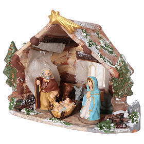Coloured terracotta hut with 8 cm Nativity scene and comet made in Deruta s4