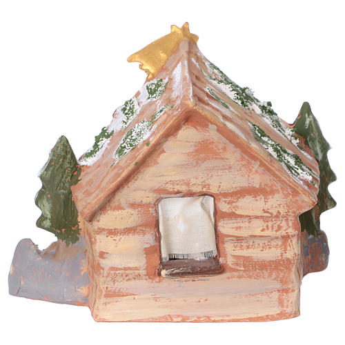 Coloured terracotta hut with 8 cm Nativity scene and comet made in Deruta 5