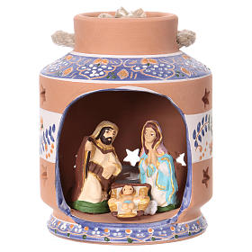 Terracotta Nativity Scene figurines from Deruta: Blue lantern with Nativity Scene 7 cm made in Deruta