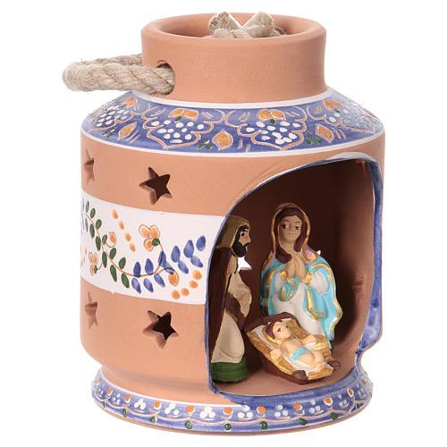Blue lantern with Nativity Scene 7 cm made in Deruta 2
