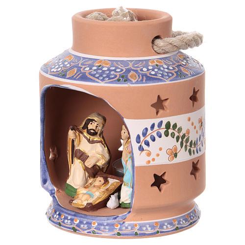 Blue lantern with Nativity Scene 7 cm made in Deruta 3