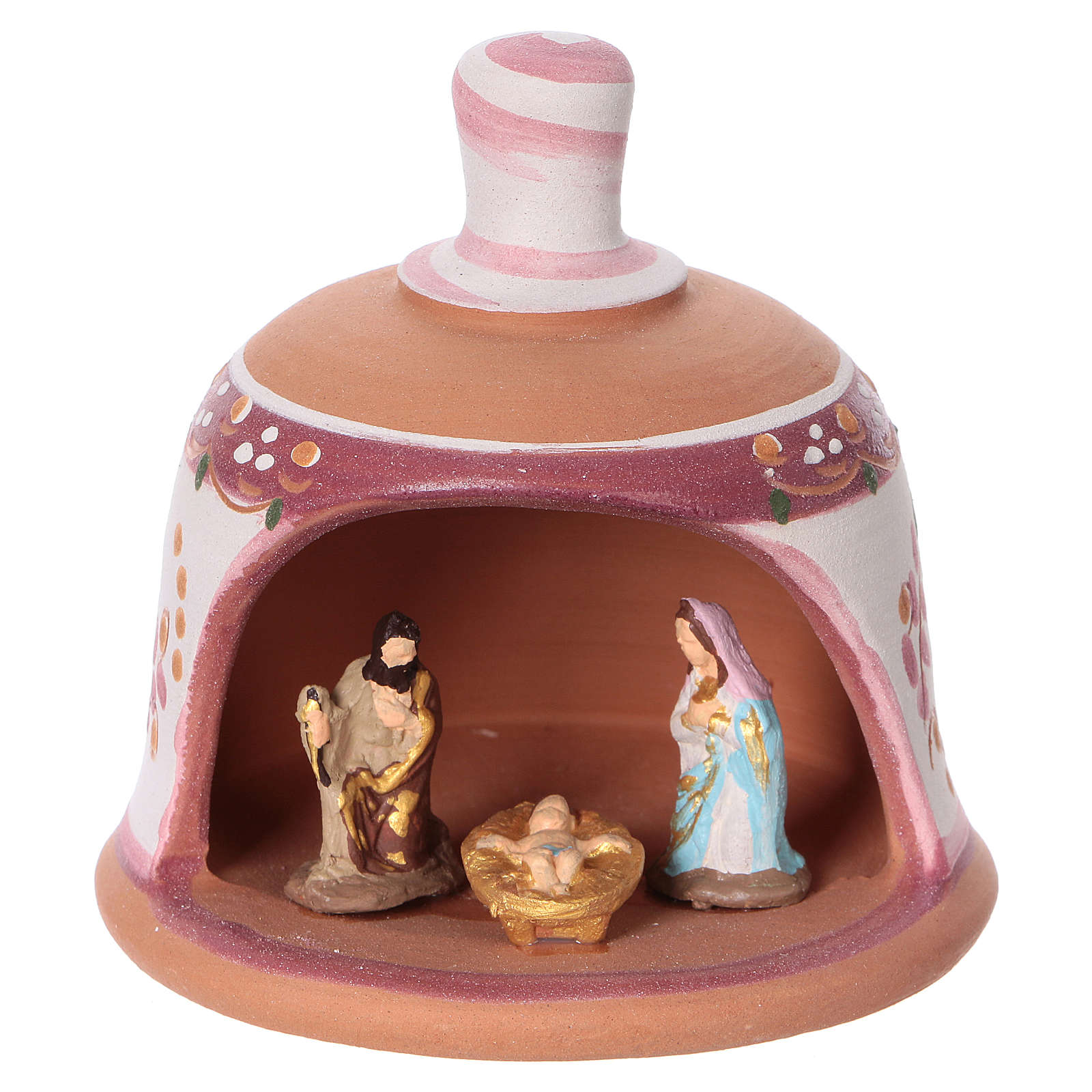 Pink terracotta hut with Nativity scene 3 cm made in Deruta 4
