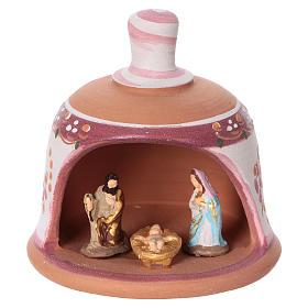 Pink terracotta hut with Nativity scene 3 cm made in Deruta s1