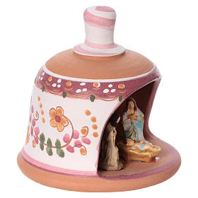 Pink terracotta hut with Nativity scene 3 cm made in Deruta s2
