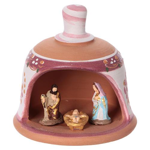 Pink terracotta hut with Nativity scene 3 cm made in Deruta 1