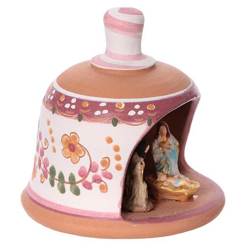 Pink terracotta hut with Nativity scene 3 cm made in Deruta 2