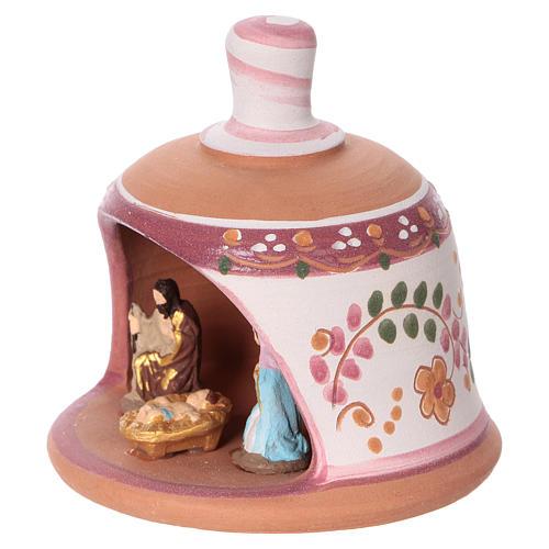 Pink terracotta hut with Nativity scene 3 cm made in Deruta 3