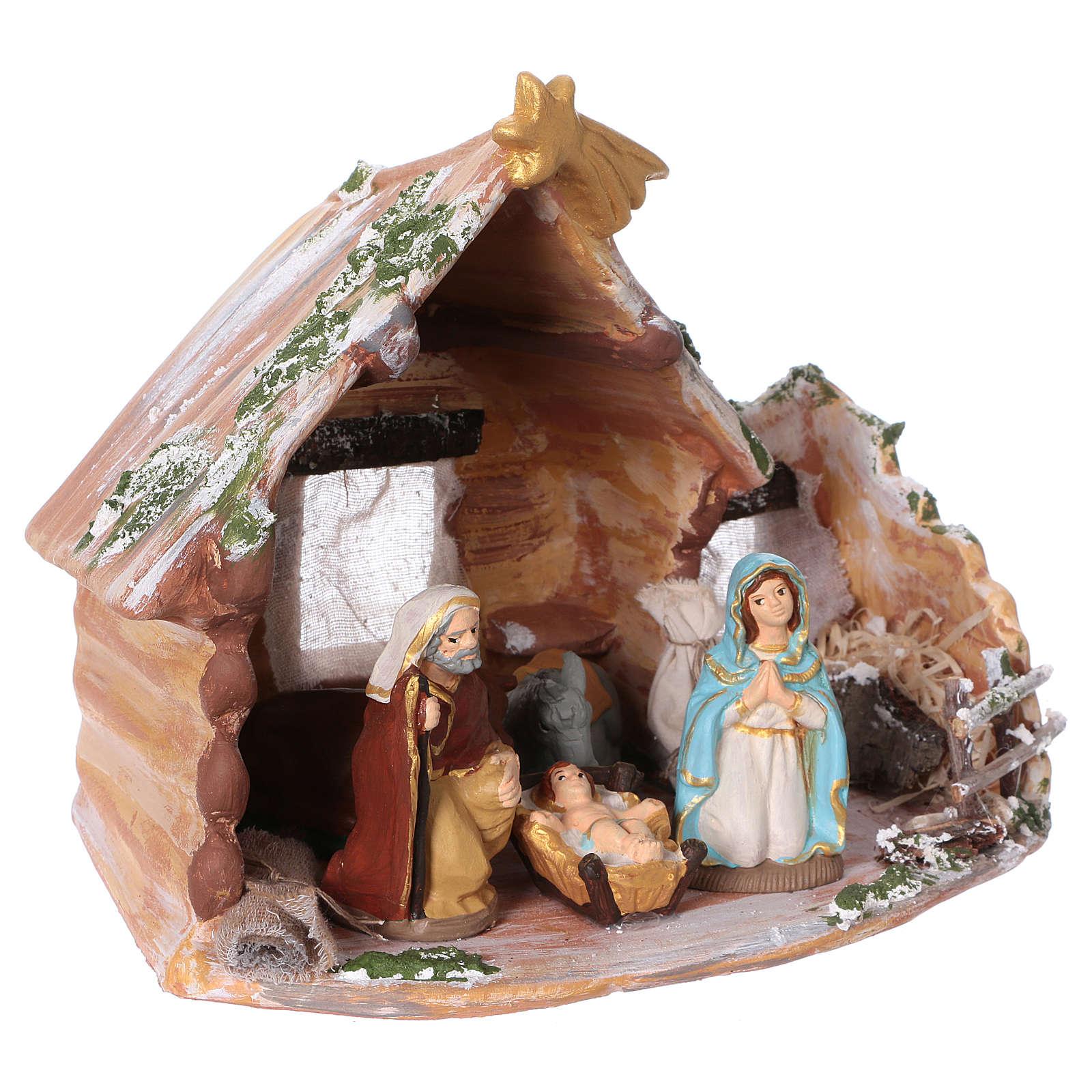Coloured terracotta hut with 8 cm Nativity scene and comet made in Deruta 4