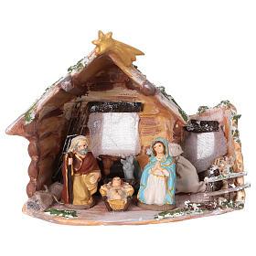 Coloured terracotta hut with 8 cm Nativity scene and comet made in Deruta s1