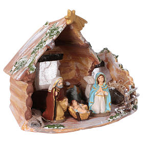 Coloured terracotta hut with 8 cm Nativity scene and comet made in Deruta s3
