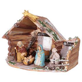 Coloured terracotta hut with 8 cm Nativity scene and comet made in Deruta s4