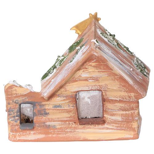 Coloured terracotta hut with 8 cm Nativity scene and comet made in Deruta 5