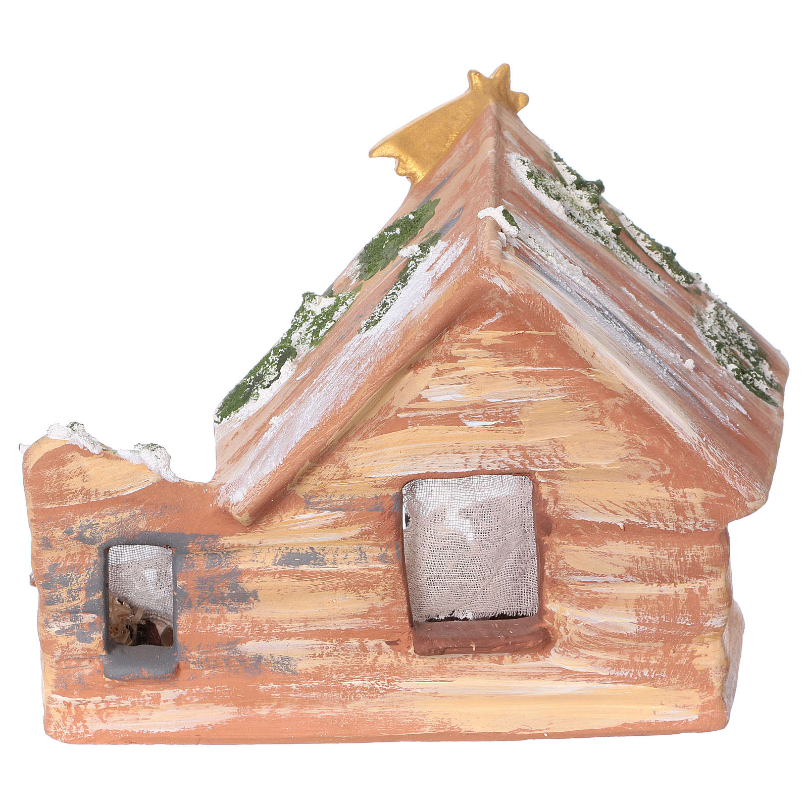 Stable in colored terracotta with 8 cm nativity set and comet Deruta 4