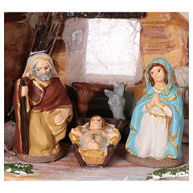 Stable in colored terracotta with 8 cm nativity set and comet Deruta s2