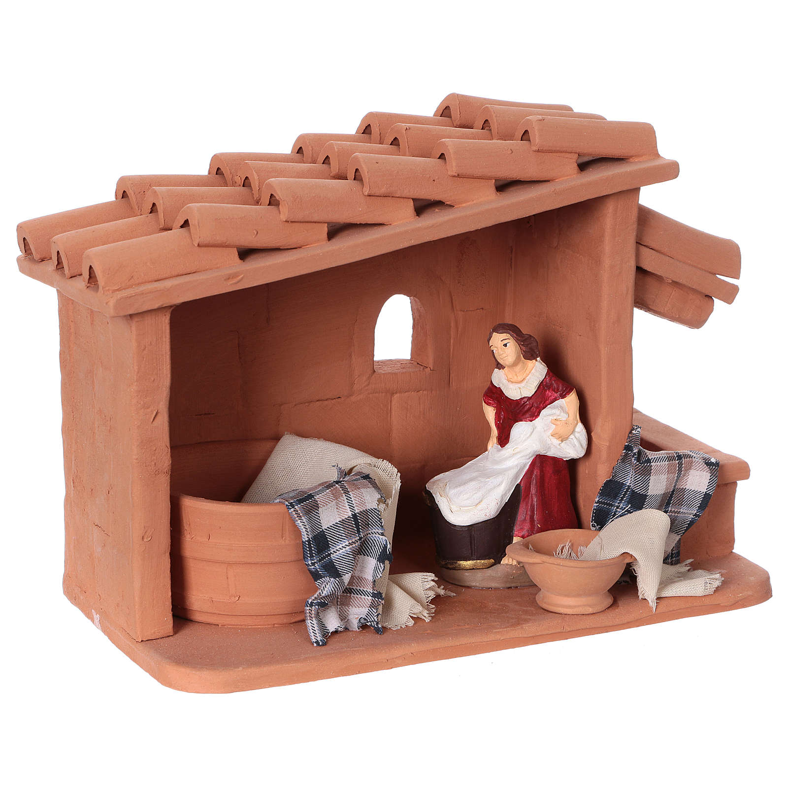 Laundress in terracotta for Nativity scene 10 cm made in Deruta 4
