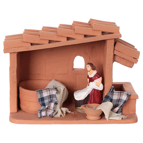 Laundress in terracotta for Nativity scene 10 cm made in Deruta 1