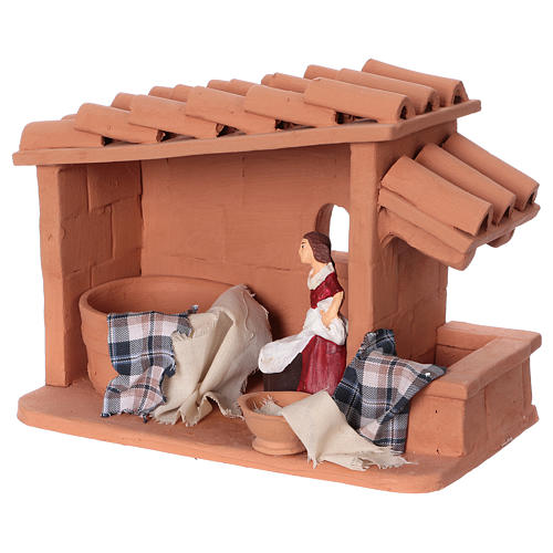 Laundress in terracotta for Nativity scene 10 cm made in Deruta 3